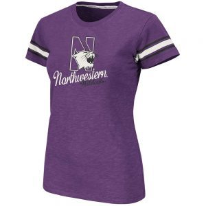 Northwestern Wildcats Colosseum Women's Backspin V-Neck  Short Sleeve Tee Shirt