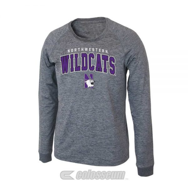 Northwestern Wildcats Colosseum Men's Slate Long Sleeve Tee Shirt