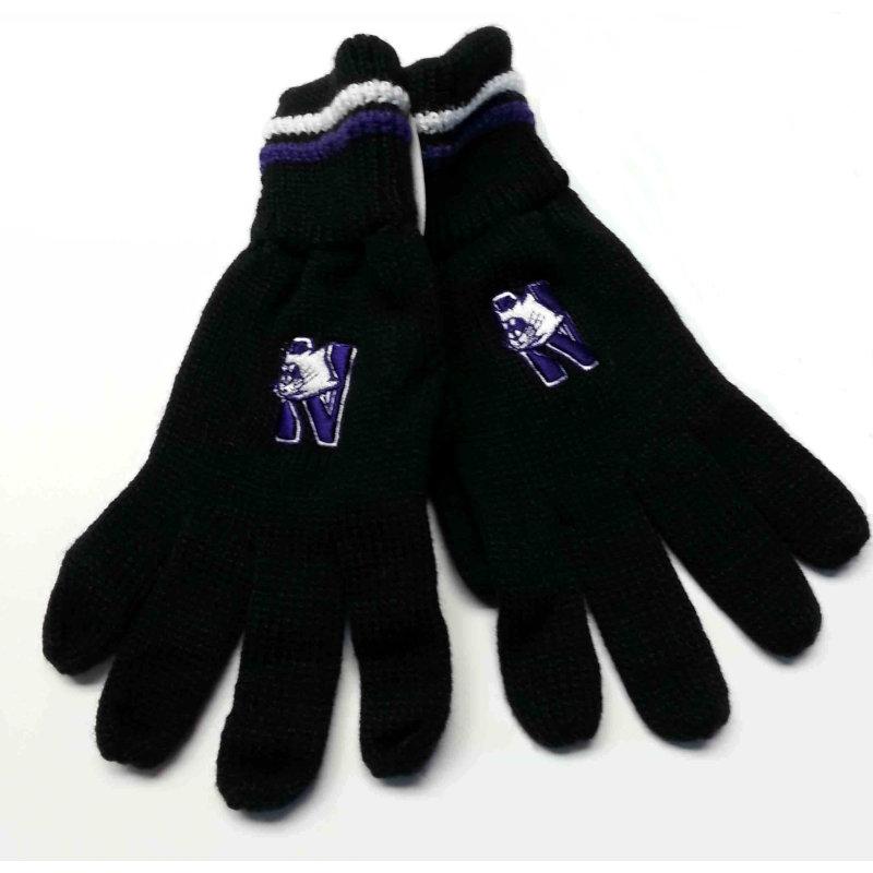 Northwestern Wildcats Adult Black Knit Gloves