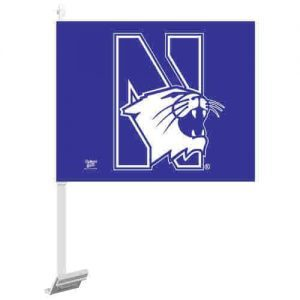 Northwestern Wildcats Purple Car flags with N-Cat Logo