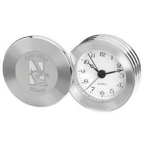 Northwestern Wildcats Mascot Design Silver Medallion Rodeo II Travel Alarm Clock