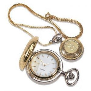 Northwestern Wildcats Mascot Design Gold Medallion Ladies Pocket Watch