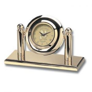 Northwestern Wildcats Mascot Design Gold Medallion Arcade Desk Clock