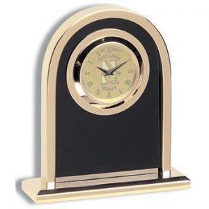 Northwestern Wildcats Mascot Design Gold Medallion Arch Desk Clock