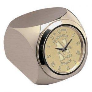 Northwestern Wildcats Mascot Design Gold Medallion Monte Carlo Desk Clock