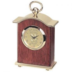 Northwestern Wildcats Mascot Design Gold Medallion Carriage Desk Clock