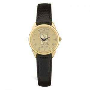 Northwestern Wildcats Mascot Design Gold Medallion Ladies Wristwatch