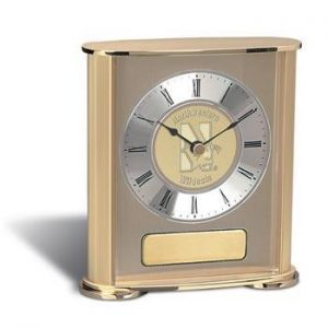 Northwestern Wildcats Mascot Design Gold Medallion Presentation Mantle Clock