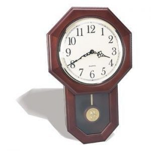 Northwestern Wildcats Mascot Design Gold Medallion Pendulum Wall Clock