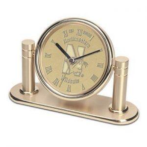 Northwestern Wildcats Mascot Design Gold Medallion Arcadia Desk Clock
