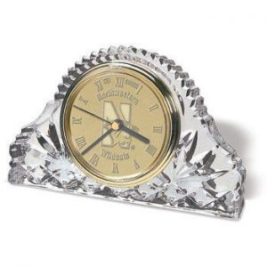 Northwestern Wildcats Mascot Design Gold Medallion Crystal Clock