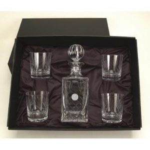 Northwestern Wildcats Mascot Design Silver Medallion 5pc Crystal Decanter Set