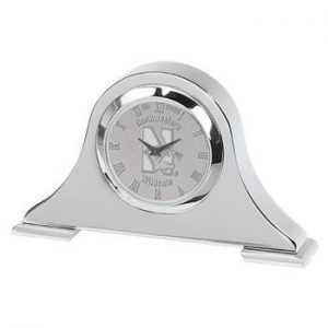 Northwestern Wildcats Mascot Design Silver Medallion Napoleon Desk Clock