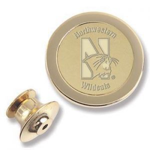Northwestern Wildcats Mascot Design Gold Medallion Lapel Pin