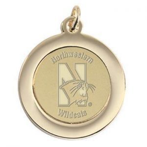 Northwestern Wildcats Mascot Design Gold Medallion Pendant Charm