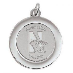Northwestern Wildcats Mascot Design Silver Medallion Pendant Charm
