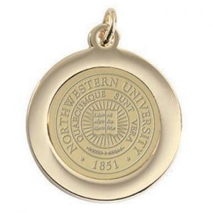 Northwestern Wildcats Seal Design Gold Medallion Pendant Charm