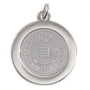 Northwestern Wildcats Seal Design Silver Medallion Pendant Charm