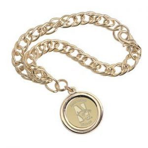 Northwestern Wildcats Mascot Design Gold Medallion Charm Bracelet