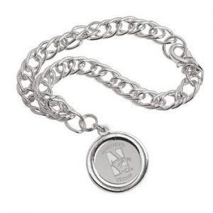 Northwestern Wildcats Mascot Design Silver Medallion Charm Bracelet