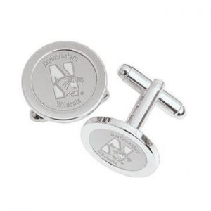 Northwestern Wildcats Mascot Design Silver Medallion Cufflinks