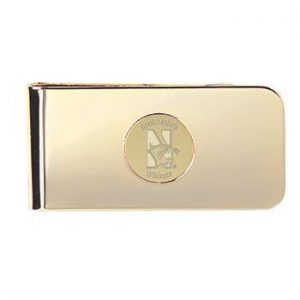 Northwestern Wildcats Mascot Design Gold Medallion Money Clip