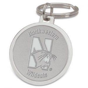 Northwestern Wildcats Mascot Design Silver Medallion Key Ring