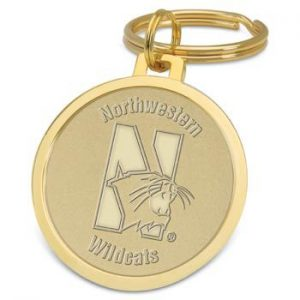Northwestern Wildcats Mascot Design Gold Medallion Key Ring