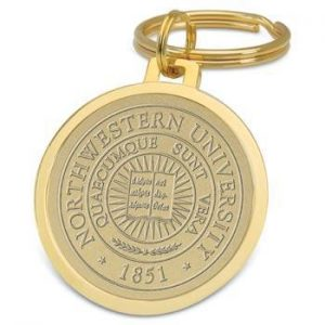 Northwestern Wildcats Seal Design Gold Medallion Key Ring