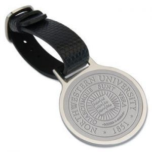 Northwestern Wildcats Seal Design Silver Medallion Bag Tag