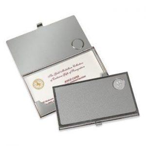 Northwestern Wildcats Mascot Design Silver Medallion Business Card Case