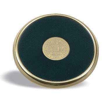 Northwestern Wildcats Seal Design Gold Medallion Satin Brass Tone Coaster