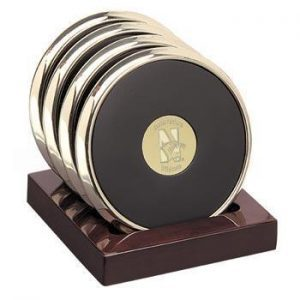 Northwestern Wildcats Mascot Design Gold Medallion Satin Brass Tone Coaster Set of Four