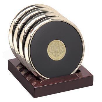 Northwestern Wildcats Seal Design Gold Medallion Satin Brass Tone Coaster Set of Four