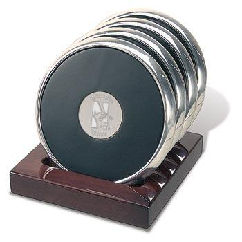 Northwestern Wildcats Mascot Design Silver Medallion Brushed Silver Tone Coaster Set of Four