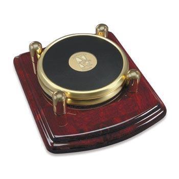 Northwestern Wildcats Mascot Design Gold Medallion Satin Brass Tone Coaster Set of Two