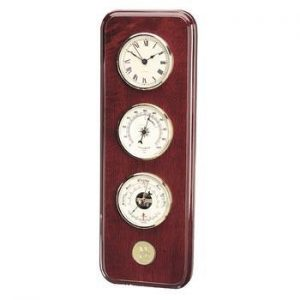 Northwestern Wildcats Mascot Design Gold Medallion Weather Station/Clock