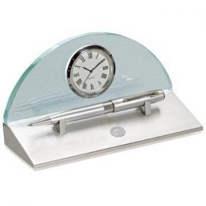 Northwestern Wildcats Mascot Design Silver Medallion Eclipse Desk Clock