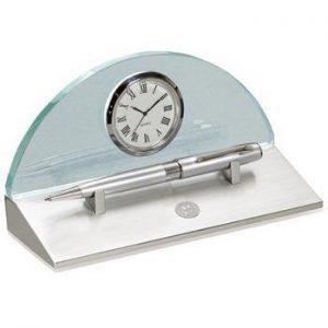 Northwestern Wildcats Mascot Design Silver Medallion Eclipse Desk Clock