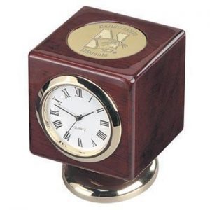 Northwestern Wildcats Mascot Design Gold Medallion Cube Desk Clock