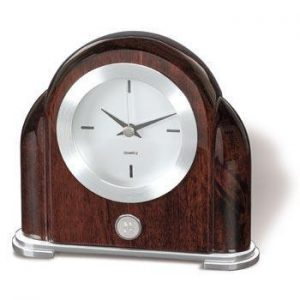 Northwestern Wildcats Mascot Design Silver Medallion Art Deco Desk Clock