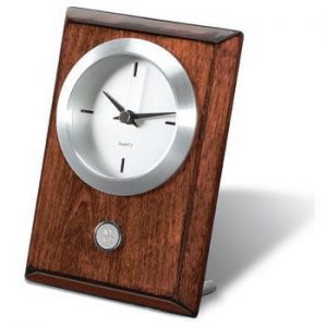 Northwestern Wildcats Mascot Design Silver Medallion Rosewood Desk Clock