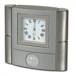 Northwestern Wildcats Mascot Design Silver Medallion Bonaventure Desk Clock