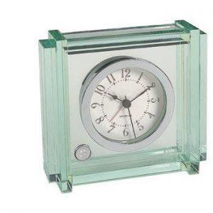 Northwestern Wildcats Mascot Design Silver Medallion Crystal Cube Clock