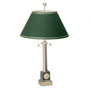 Northwestern Wildcats Mascot Design Gold Medallion Black Marble Alumni Lamp With Green Linen Shade