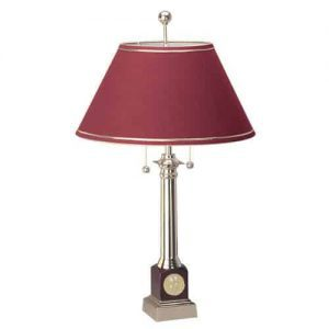 Northwestern Wildcats Mascot Design Gold Medallion Piano Wood Finish Alumni Lamp with Burgandy Linen Shade