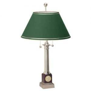 Northwestern Wildcats Mascot Design Gold Medallion Piano Wood Finish Alumni Lamp with Green Linen Shade