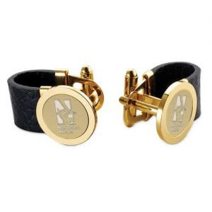 Northwestern Wildcats Mascot Design Gold Medallion Polished Gold-plated Leather Cuff Attachment Cufflinks