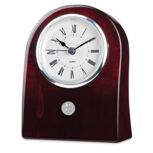 Northwestern Wildcats Mascot Design Silver Medallion Miranda Rosewood Finish Desk Clock