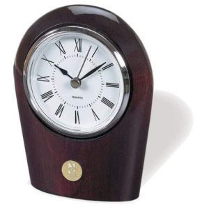 Northwestern Wildcats Mascot Design Gold Medallion Palm Rosewood Finish Desk Clock